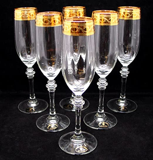 Christmas Tablescape Decor - Handmade Italian 24-Karat gold-rimmed champagne flutes stemware - Set of 6