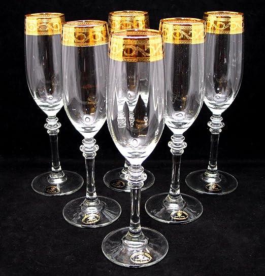 Christmas Tablescape Decor - Handmade Italian 24-Karat gold-rimmed champagne flutes stemware - Set of 6
