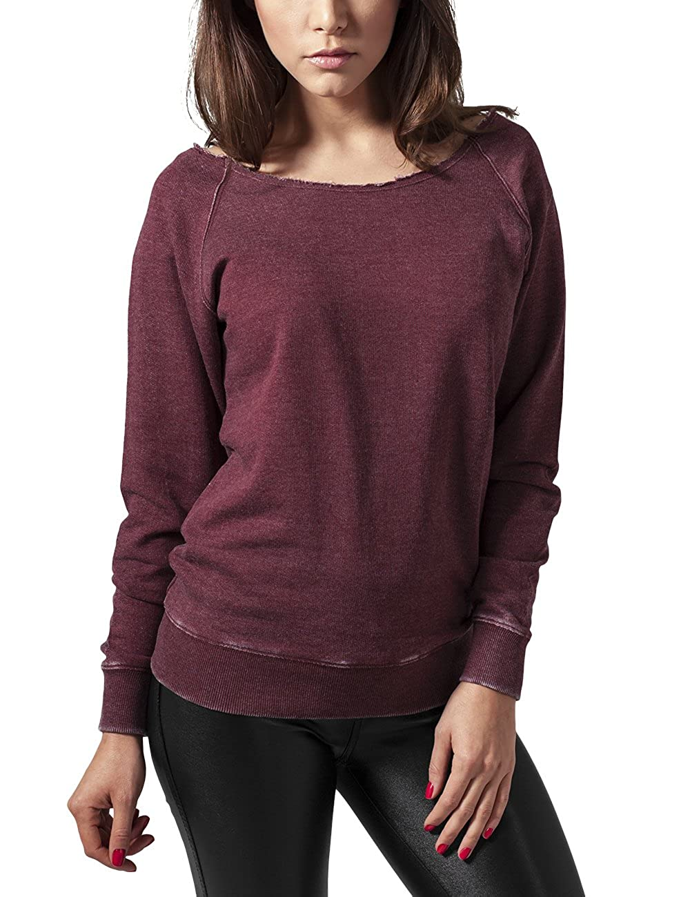 TALLA M. Urban Classics Ladies Burnout Open Edge Crew Sudadera para Mujer