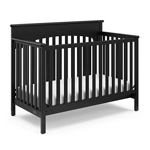Graco Lauren 4-in-1 Convertible Crib, Black, Easily Converts to Toddler Bed, Day Bed or Full Bed, 3 Position Adjustable Height Mattress (Mattress Not Included)
