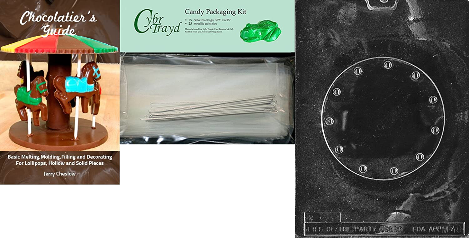 Includes 25 Cello Bags and 25 Silver Twist Ties CybrtraydBasket Base for Elaine Gonza Miscellaneous Chocolate Mold with Chocolatiers Bundle