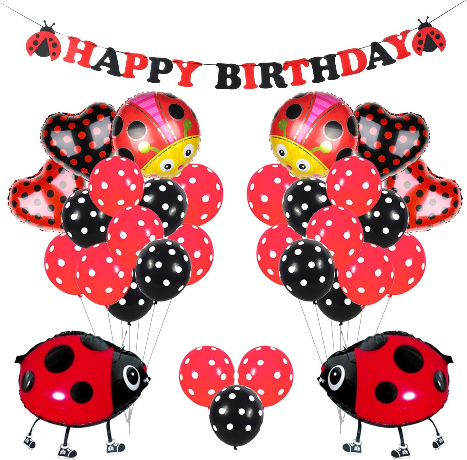 Kreatwow Ladybug Party Decorations Supplies Ladybug Balloons for Birthday Party Baby Shower