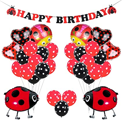 Kreatwow Ladybug Party Decorations Supplies Ladybug Globos ...
