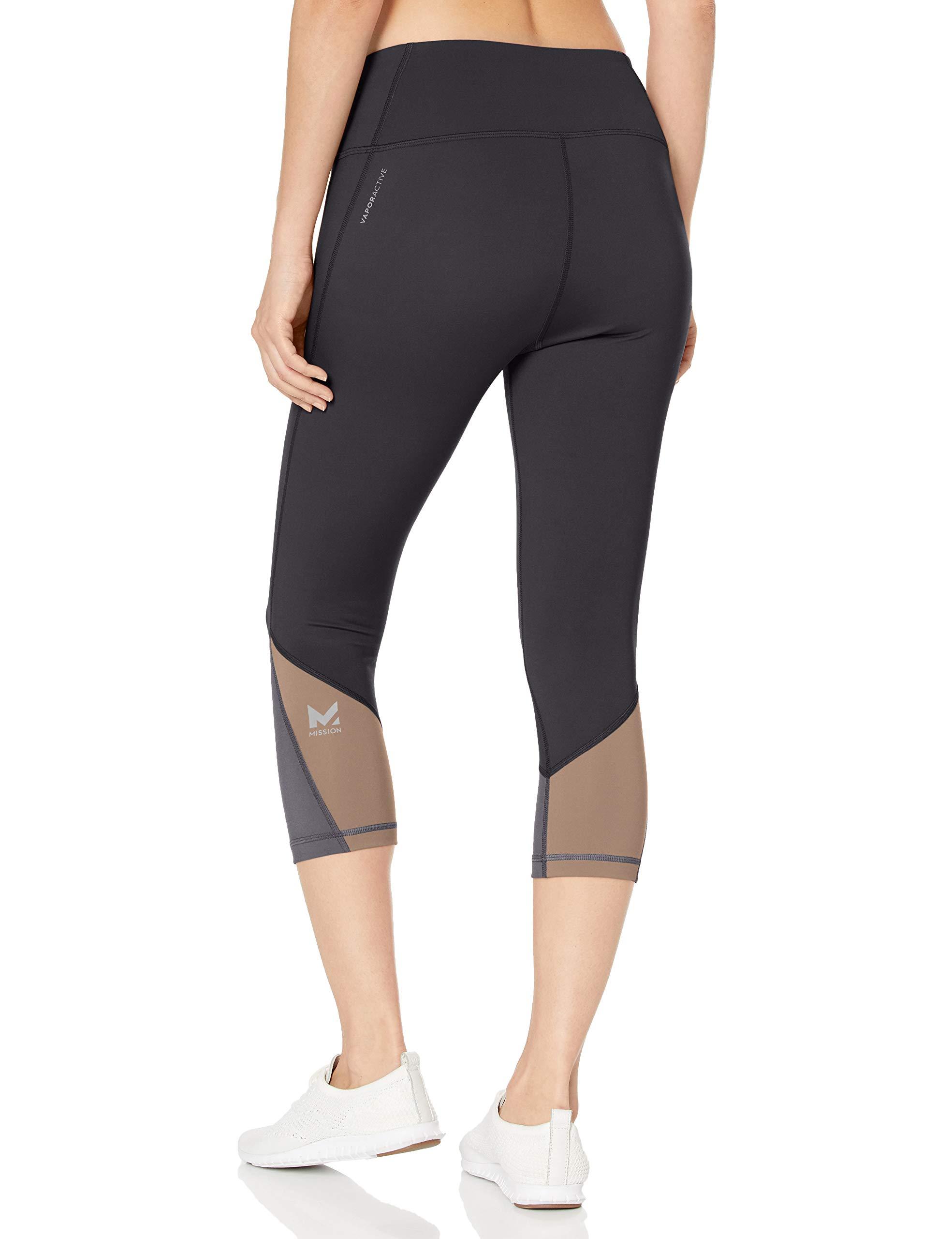 Mission Women's VaporActive System Mid-Rise Capri Leggings, Moonless Night/Funghi, Medium