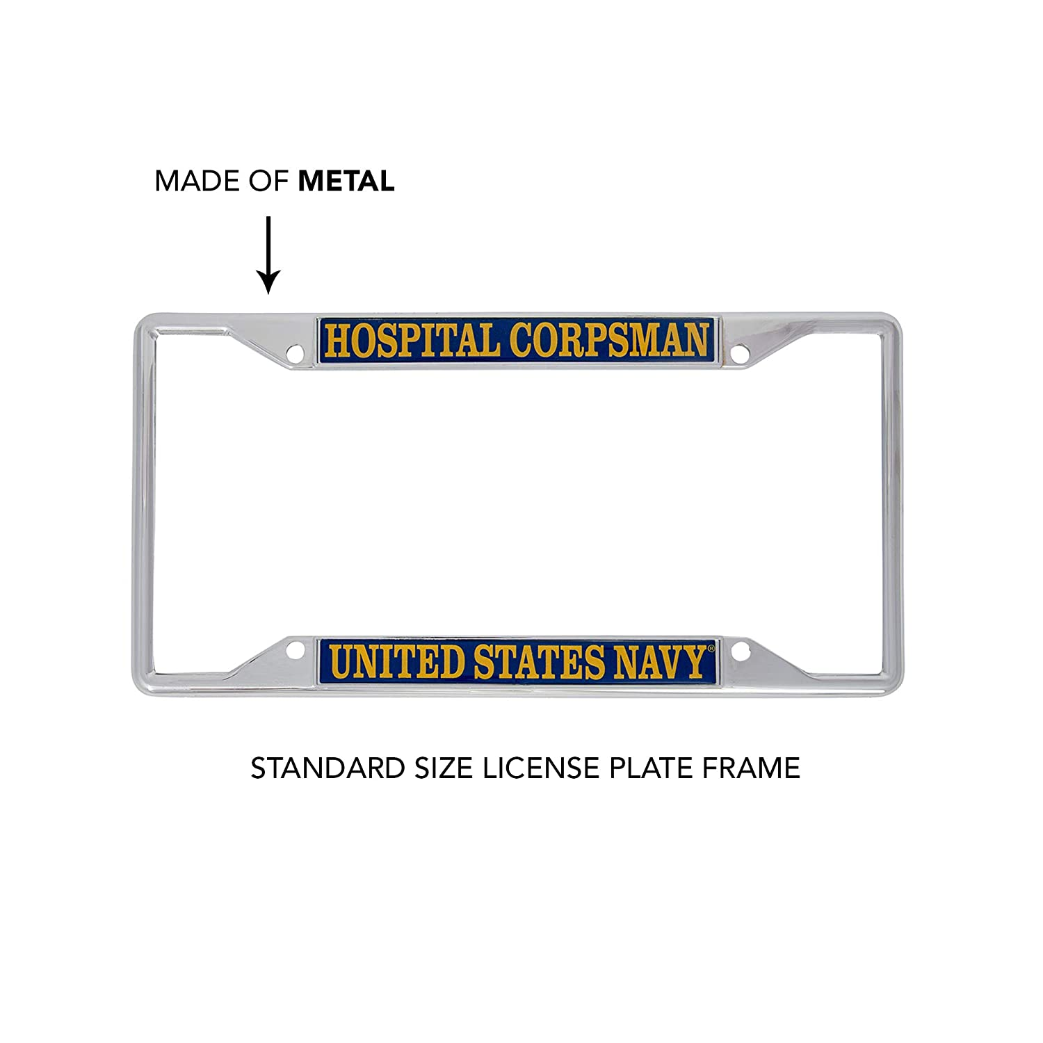 Desert Cactus US Navy Hospital Corpsman Enlisted Rating Insignia License Plate Frame for Front Back of Car Officially Licensed United States