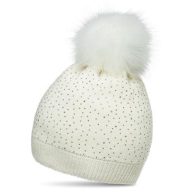 ee978ea766f CASPAR MU191 Bonnet en tricot avec pompon en fausse fourrure et paillettes  pour femme