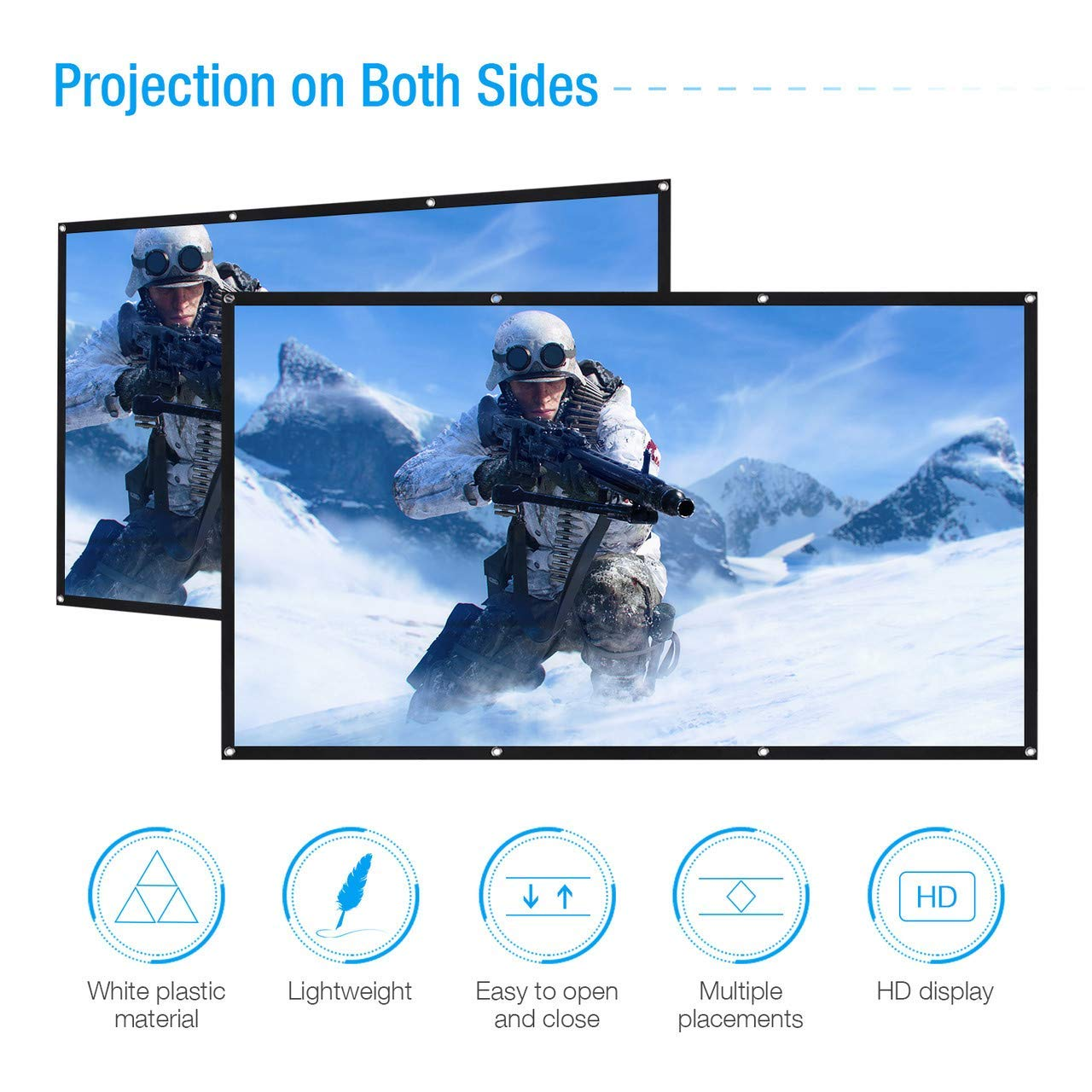 120 Inch Projection Screen, Powerextra 16:9 HD 4K Foldable Anti-Crease Portable Projector Screen for Home Theater Indoor Outdoor Movie Screen, Support Double-Sided Projection