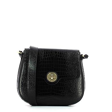 4ce92faf0d9 Emporio Armani sac à bandoulière moyen relief croc noir Black Leather   Amazon.fr  Chaussures et Sacs