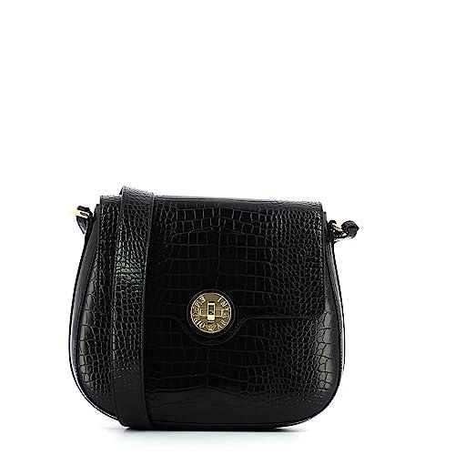 Emporio Armani Borsa a tracolla media goffrato nero croc Black Leather   Amazon.it  Scarpe e borse 9fd75df9fba