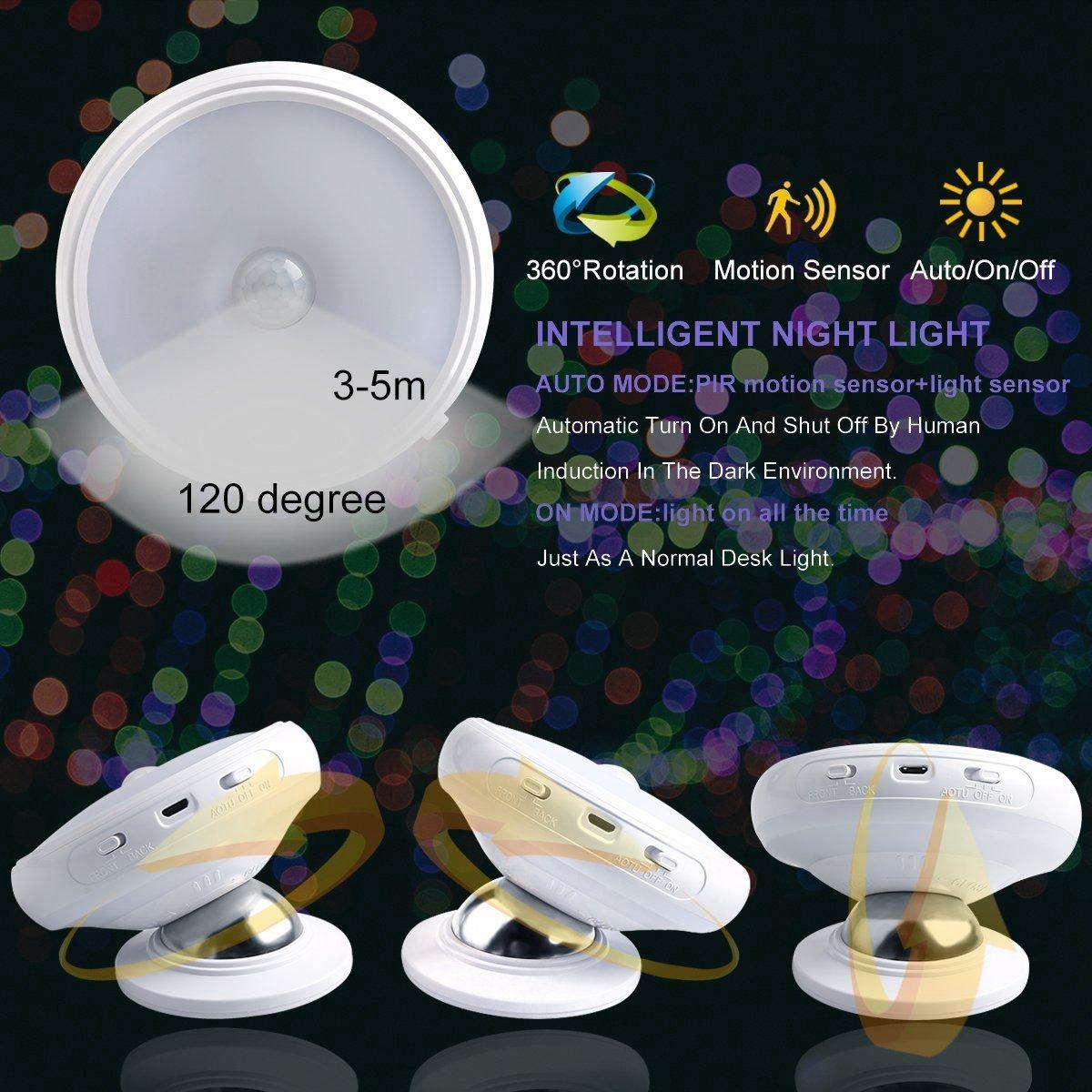 TOOGOO Luz de noche de sensor de movimiento, Base de iman desmontable, USB recargable LED, Induccion del cuerpo humano Luz de noche de rotacion de 360 ...
