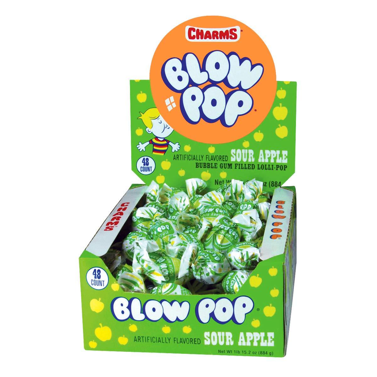 Charms Blow Pops, Sour Apple Flavor, 48-Count Box
