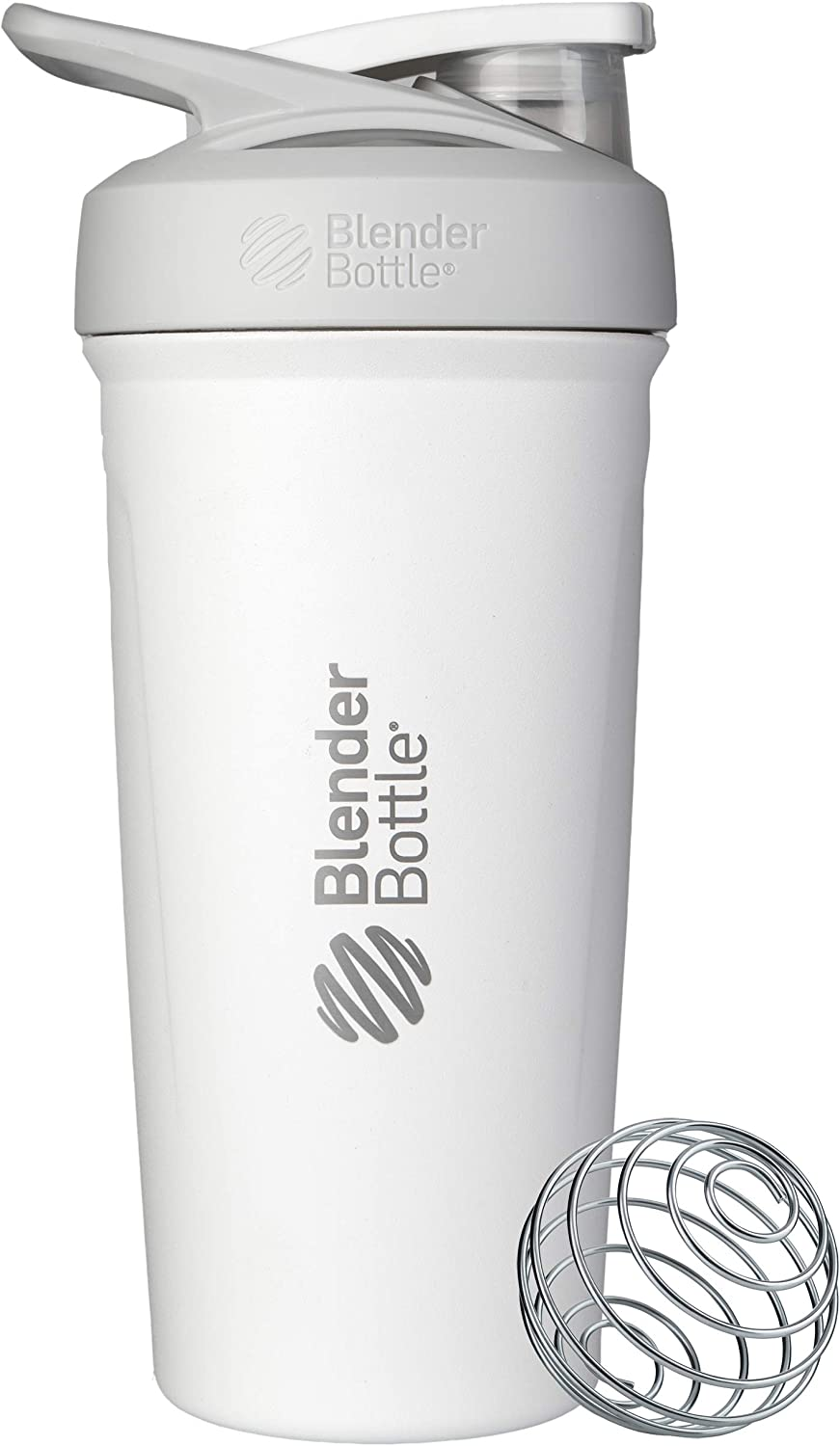 BlenderBottle Strada Insulated Shaker Bottle with Locking Lid, 24-Ounce, White
