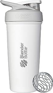 BlenderBottle Strada Insulated Shaker Bottle with Locking Lid, 24-Ounce, White