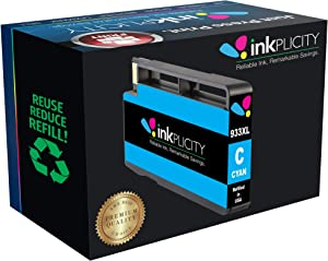 Inkplicity Refilled Ink Cartridge Replacement for HP 933XL (Cyan)