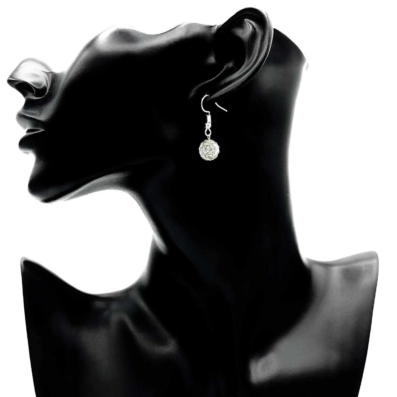 Ohrringe LIGHT Glitzer Kugel gl/änzend wei/ß rund Struktur versilbert antik h/ängend handmade einzigartig Damen M/ädchen Schmuck Design modern filigran Muster