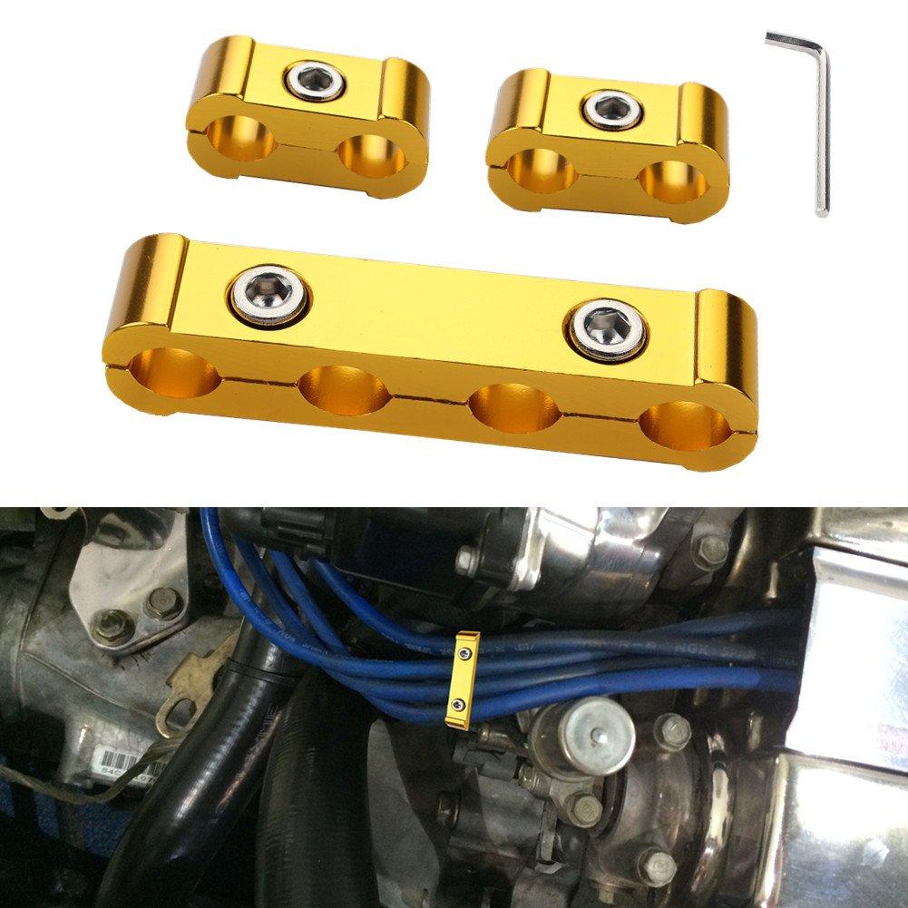 Gold Dewhel 3pcs ENGINE SPARK PLUG WIRE SEPARATOR DIVIDER CLAMP KIT FOR 8MM 9MM 10MM