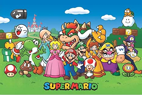 Super Mario Design 2 Wide Personalised Wall Poster Bedroom Kid/'s Game Boys Girls