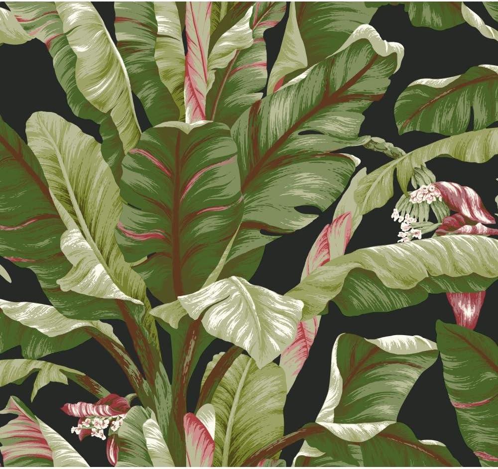 York Wallcoverings Tropics Banana Leaf Removable Wallpaper, Black/Green
