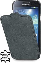 StilGut UltraSlim Case, custodia in pelle per Samsung Galaxy S4 Mini (i9195), cenere old style