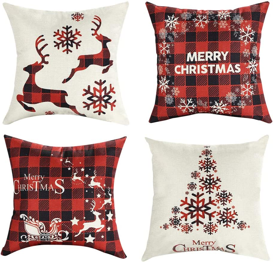 Amazon Com Mimacoo 16x16 Christmas Throw Pillow Covers Decorative Outdoor Farmhouse Merry Christmas Xmas Christmas Tree Pillow Shams Cases Slipcovers Set Of 4 For Couch Sofa Home Kitchen