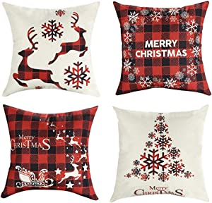 Mimacoo 16x16 Christmas Throw Pillow Covers, Decorative Outdoor Farmhouse Merry Christmas Xmas Christmas Tree Pillow Shams Cases Slipcovers Set of 4 for Couch Sofa