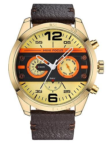 MINI Focus - Hombre Reloj de Pulsera Resistente a Agua Reloj Vintage de Cuarzo Banda de Piel con Doble Huso Horario - Marrón: Amazon.es: Relojes