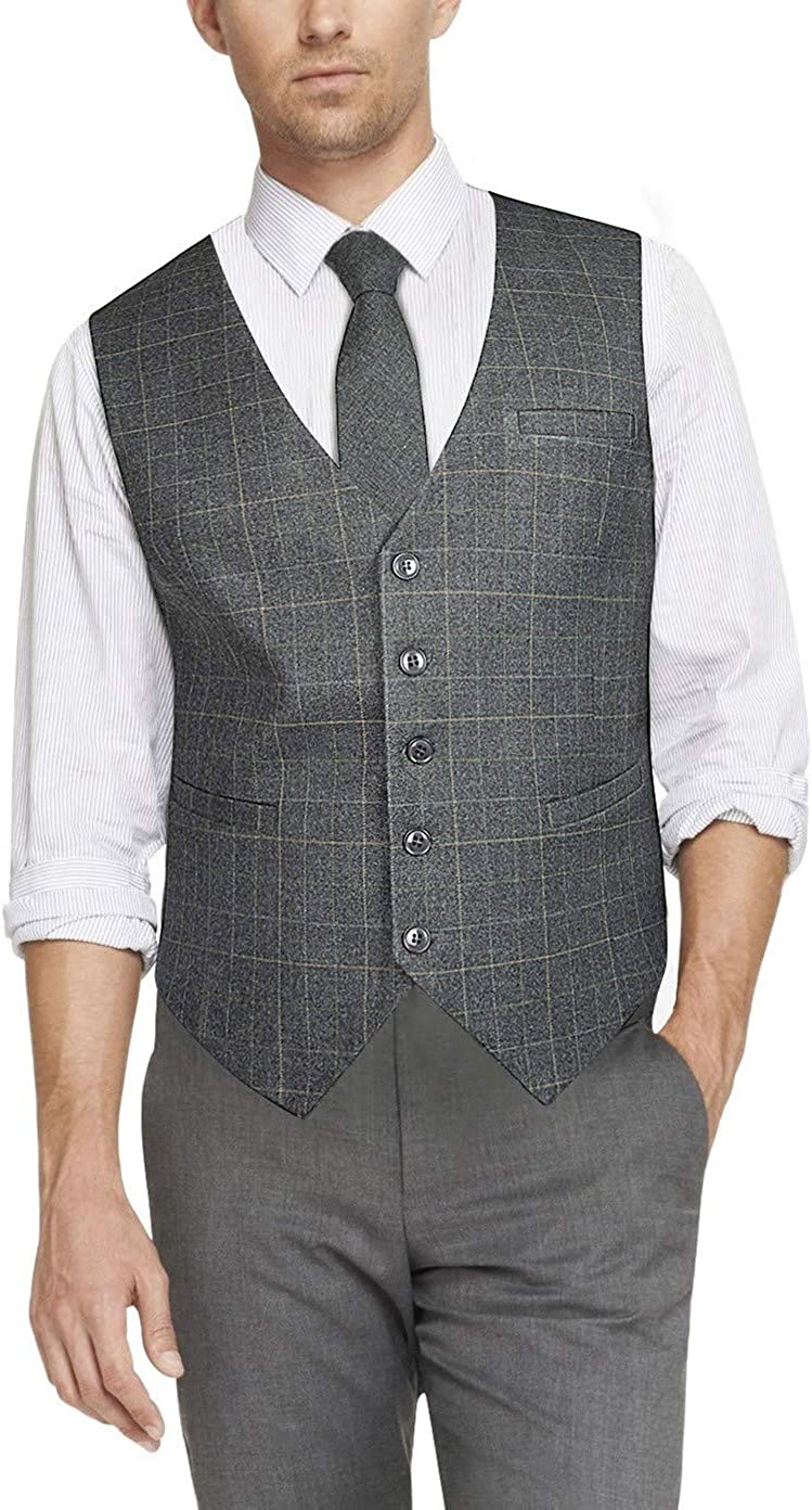 HISDERN Mens Formal Wedding Party Waistcoat Cotton Plaid Dress Suit Vest