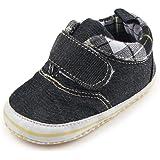 FireFrog Baby Boys Girls Cowboy Jeans Plaid Velcro Sneaker Fashion Prewalker Crib Shoes