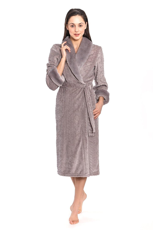 Cozy & Curious Women's Long Faux Mink Fur Robe