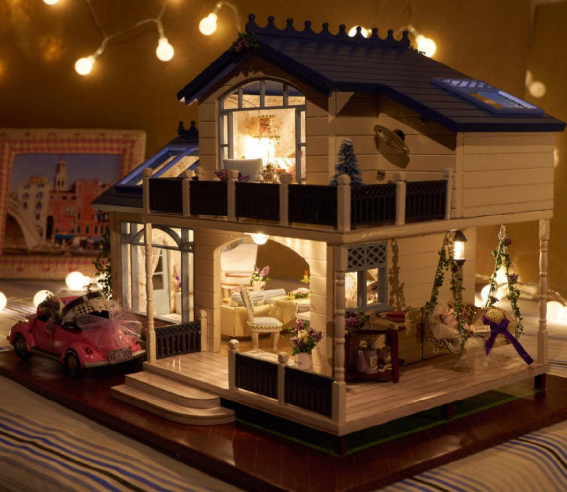 dollhouse lighting. Dollhouse Miniature DIY House Kit Creative Room With Furniture And Cover For Romantic Artwork The Best Choice Gifts. (Large Led Light Lighting O