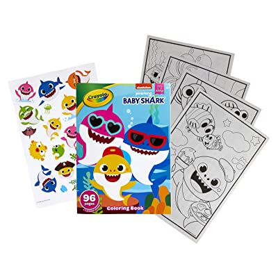 Buy Crayola Baby Shark Coloring Book With Stickers Gift For Kids 96 Pages Ages 3 4 5 6 Online In South Africa B08lqrmnlg