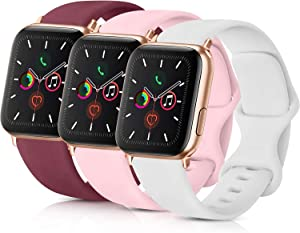 Pack 3 Compatible with Apple iWatch Bands 38mm Womens, Soft Silicone Band Compatible iWatch Series 4, Series 3, Series 2, Series 1 (Wine Red/Pink/White, 38mm/40mm-S/M)