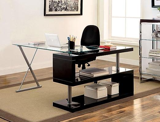 FA Furnishing Holmdale - Mesa de Escritorio (Cristal, 137,2 cm ...