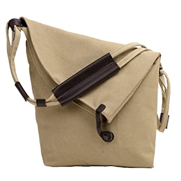 7e48c88a693d ParaCity Women s Casual Large Shoulder Bag Canvas Shoulder Bag Canvas  Messenger Bag For Women Girls Students (Khaki)  Amazon.co.uk  Garden    Outdoors