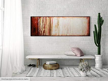 KunstLoft/® Acryl Gem/älde Vagile Virtuosit/ät 150x50cm Wandbild Acrylbild Moderne Kunst einteilig mit Rahmen Abstrakt Rot Beige original handgemalte Leinwand Bilder XXL