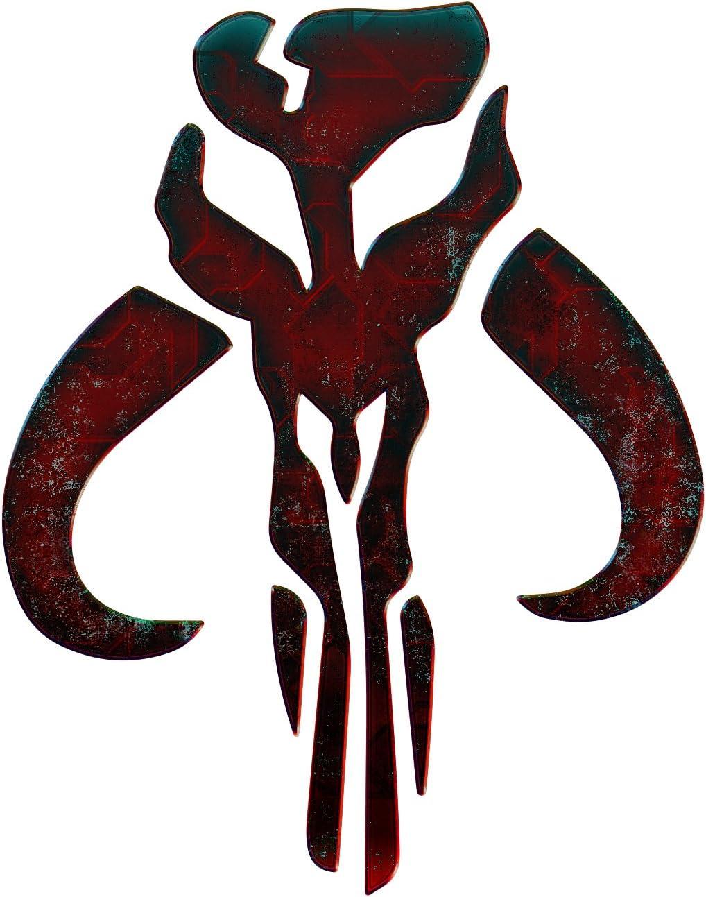 Bargain Max Decals Mandalorian Inspired Skull Dark Red Metal Window Laptop Car Sticker 6