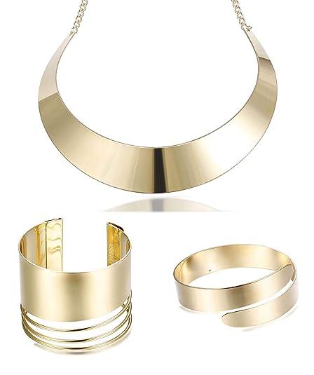 913d1b6eea7 Hanpabum Women Gold Tone Choker Necklace and Cuff Bangle Bracelet Jewelry  Set Exaggerated Punk Style (