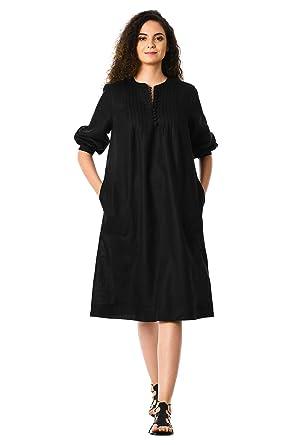 Eshakti Womens Pintuck Pleat Linen Shift Dress Uk Size 16short