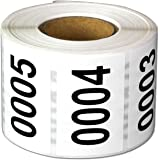 """Consecutive Number Labels Self Adhesive Stickers 0001 to 0500"""" (White Black / 1.5 x 1 Inch) - 500 Labels Per Pack"""