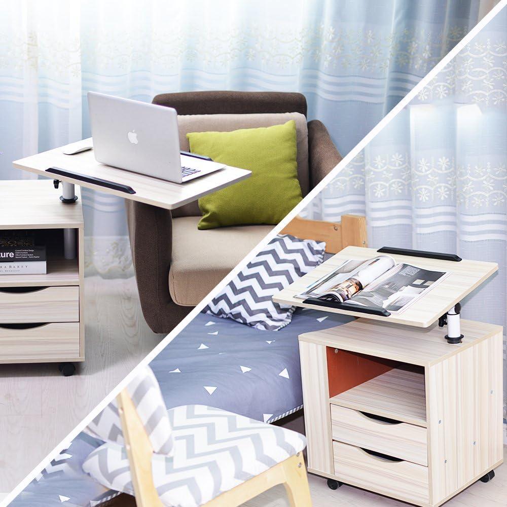 soges Betttisch Laptoptisch Sofatisch aus Holzwerkstoffen hochverstellbar mit drehbar Tischplatte geeignet f/ür Bett Sofa,CT1-OK