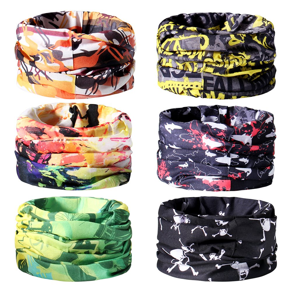 Loyps 6PCS Seamless Magic Headwear Headband Sweatband Bicycle Riding Scarf Headwraps Face Mask Neck Warmer Stretchy Multifunctional for Moisture Wicking Wind and UV Protection