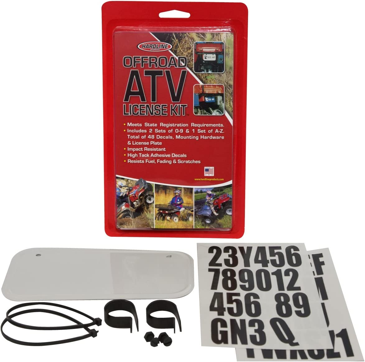 Wisconsin LEGAL License Plate Kit ATV White with black decal kit