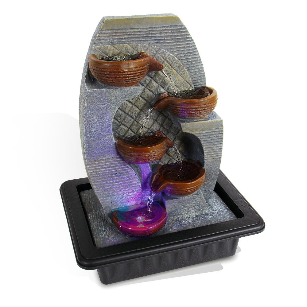 SereneLife 4-Tier Desktop Electric Water Fountain Decor w/LED Indoor Outdoor Portable Tabletop Zen Meditation Waterfall Kit Includes Submersible Pump & 12V Power Adapter-SLTWF87LED Pyle USA