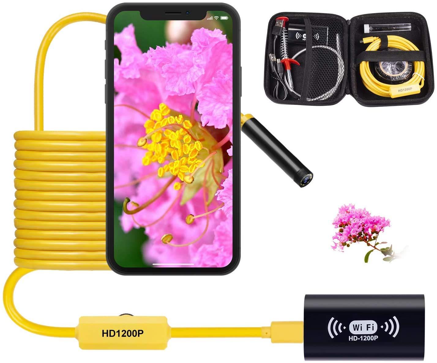 Wireless Endoscope Camera WiFi Borescope Inspection Snake Camera 1200P Waterproof Semi-Rigid Wireless Endoscope for Android iOS Mac Windows by Austone (16.4FT)