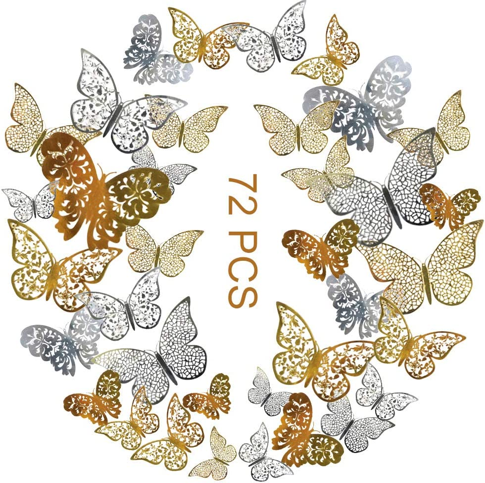 72Pcs 3D Butterfly Wall Decals Sticker with Gold Silver Butterfly Decals Metallic Art Decorations Sticker, 3 Sizes DIY Removable Decorative Paper Murals for Home, Nursery, Party Decor (Gold, Silver)