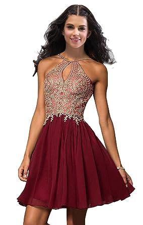 Lily Wedding Junior Halter Gold Applique Prom Dresses 2019 Short Sleeveless  Chiffon Homecoming Party Dress Burgundy Plus Size 20