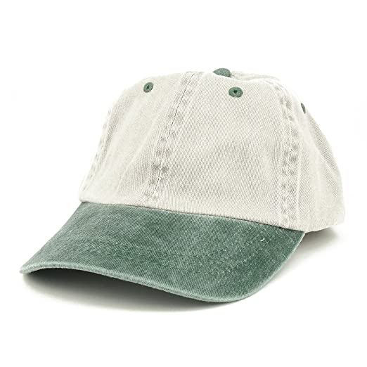 fb24ba22d40 Armycrew Low Profile Blank Two-Tone Washed Pigment Dyed Cotton Dad Cap -  Beige Green