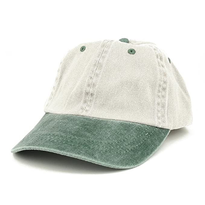 a46b1bacb56 Armycrew Low Profile Blank Two-Tone Washed Pigment Dyed Cotton Dad Cap -  Beige Green