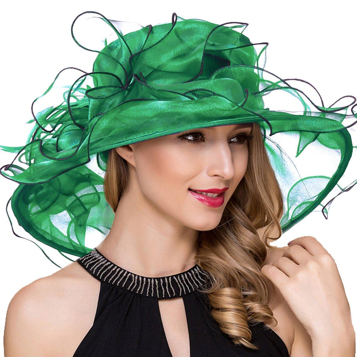 Women Organza Kentucky Derby Church Dress Fascinator Wide Brim Wedding Tea Party Hats (Green)