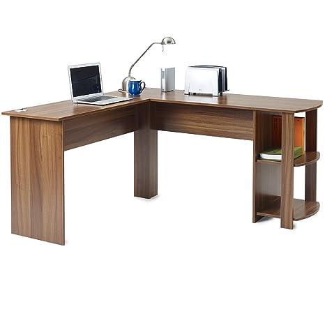 Escritorio de oficina en forma de L para ordenador, mesa grande para esquina para PC con 2 estantes para el hogar y la oficina